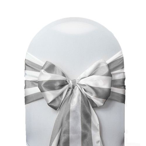 Satin Sashes Gray/White Striped (Pack of 10)