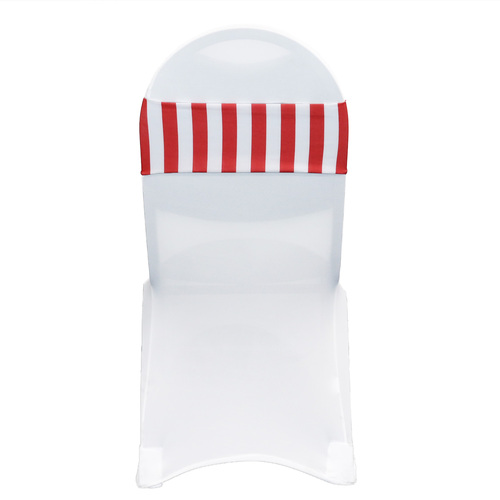 Spandex Striped Chair Bands Red/White
