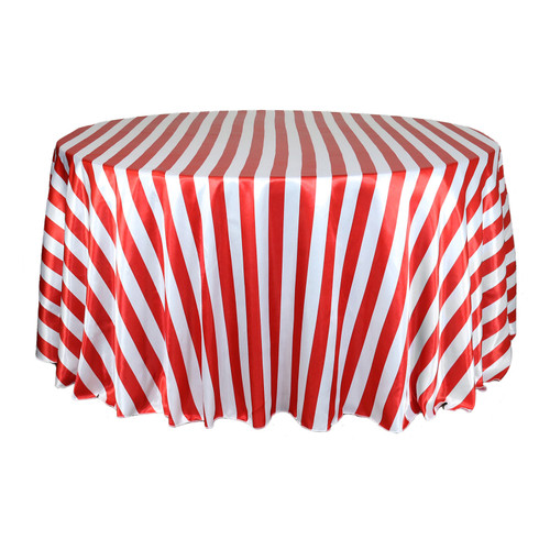 120 Inch Round Satin Tablecloth Red/White Striped