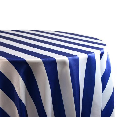 Royal Blue White Stripe Tablecloth