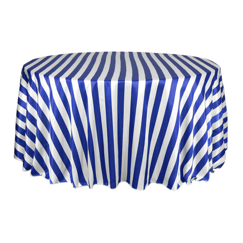 132 inch Round Satin Tablecloth Royal Blue/White Striped