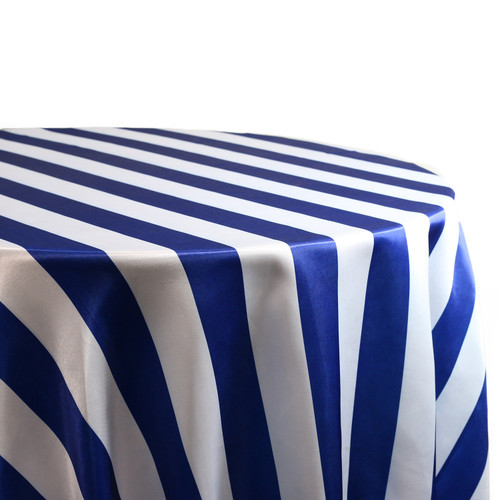 132 inch Round Satin Tablecloth Royal Blue/White Striped For Weddings