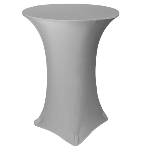 30 inch Highboy Cocktail Round Stretch Spandex Table Cover Gray