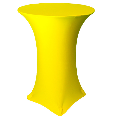 30 inch Highboy Cocktail Round Stretch Spandex Table Cover Yellow