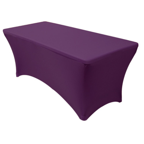 Stretch Spandex 6 Ft Rectangular Table Cover Eggplant