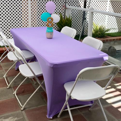Stretch Spandex Rectangular Table Cover Lavender