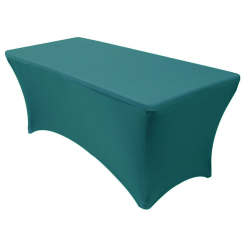 Stretch Spandex 6 Ft Rectangular Table Cover Teal