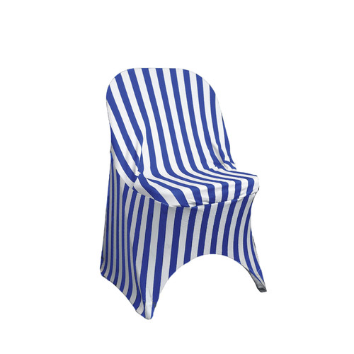Royal Blue/White Spandex Folding Chair Covers Wholesale
