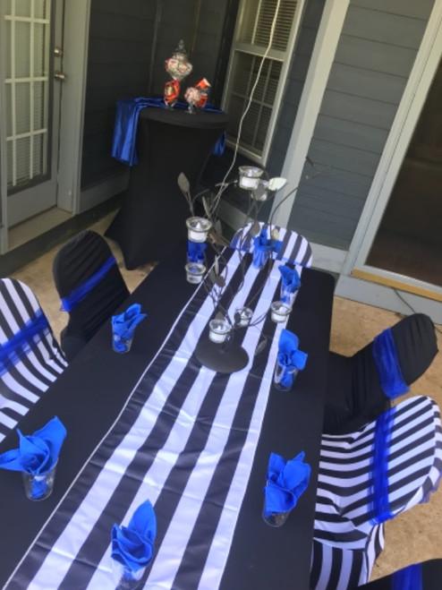 Stretch Spandex Folding Chair Covers Striped Black/White