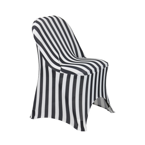 Stretch Spandex Folding Chair Covers Striped Black/White side 1