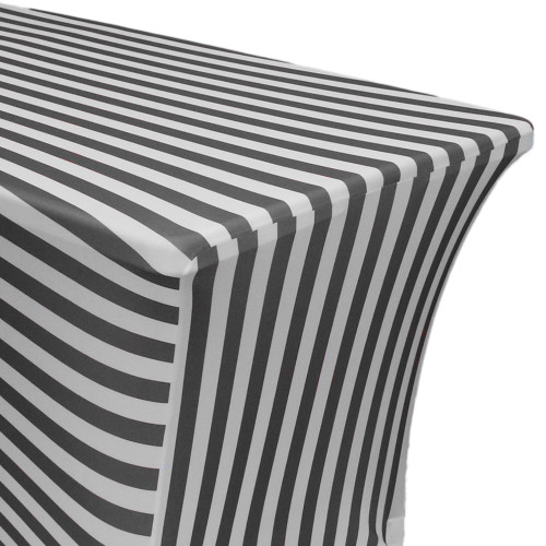 Stretch Spandex 6 ft Rectangular Table Cover Black/White Striped zoom