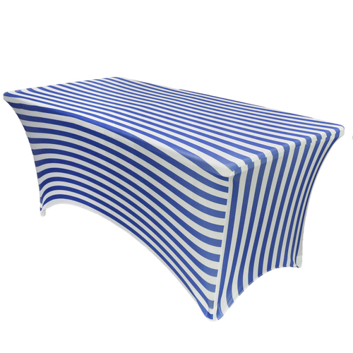 Stretch Spandex 6 ft Rectangular Table Cover Royal Blue/White Striped