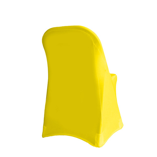 Stretch Spandex Folding Chair Cover Yellow For Hotels