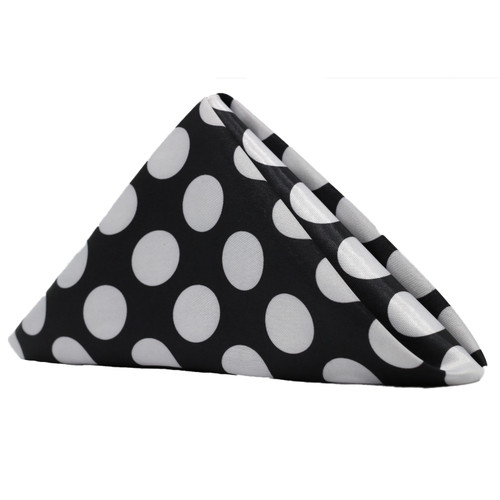 20 inch Satin Cloth Napkins Black/White Polka Dots (Pack of 10)