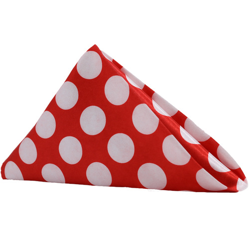 20 inch Satin Cloth Napkins Red/White Polka Dots