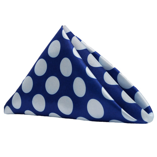 20 inch Satin Cloth Napkins Royal Blue/White Polka Dots