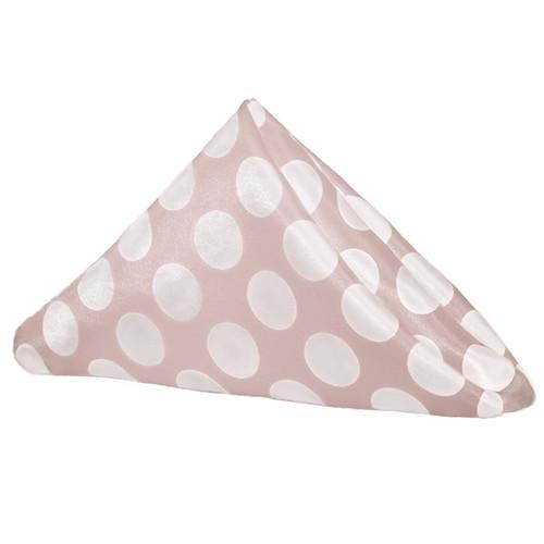 20 inch Satin Cloth Napkins Blush/White Polka Dots