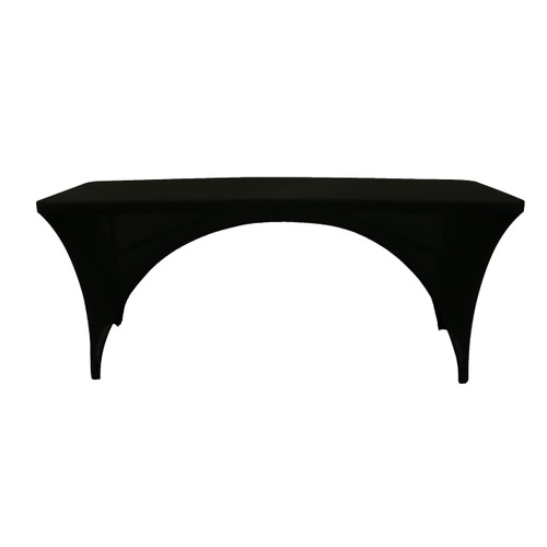 Stretch Spandex 6 Ft Sides Open Rectangular Table Cover Black