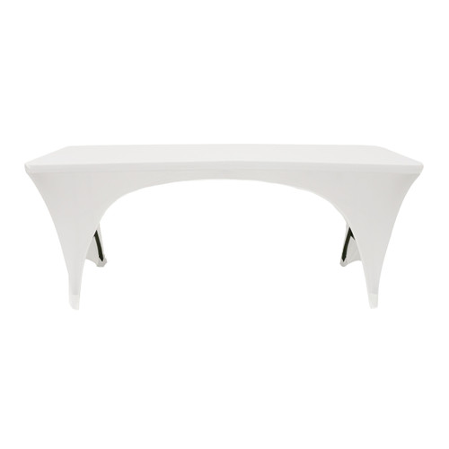 Stretch Spandex 6 Ft Sides Open Rectangular Table Cover White