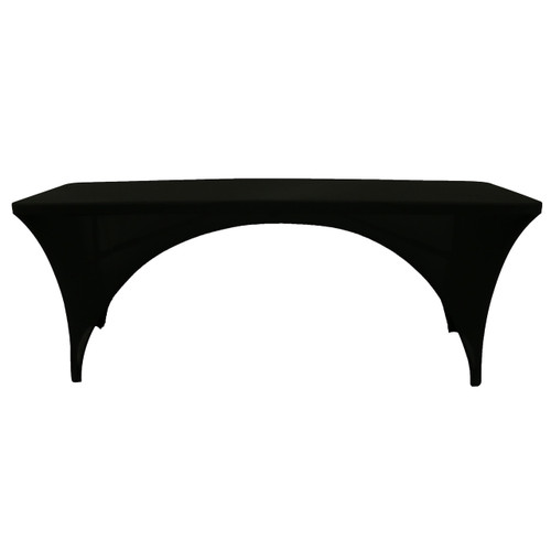 Stretch Spandex 8 Ft Sides Open Back Rectangular Table Cover Black