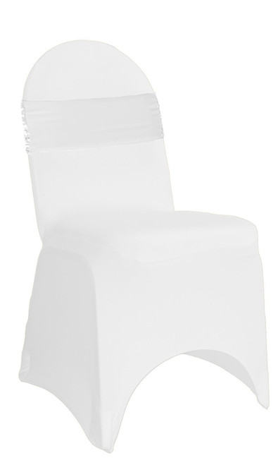 10 Pack Stretch Spandex Glitz Sequin Bands White On White Chair Covers Front View