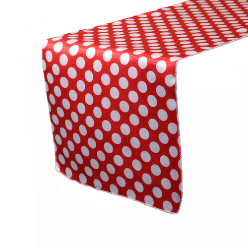 14 x 108 Inch Satin Table Runner Red/White Polka Dots