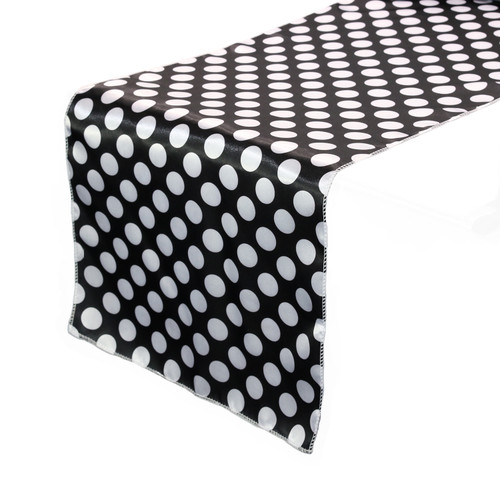 14 x 108 inch Satin Table Runner Black/White Polka Dots