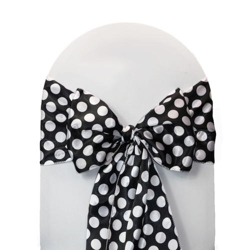 10 Pack Satin Sashes Black/White Polka Dots