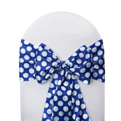 10 Pack Satin Sashes Royal Blue/White Polka Dots