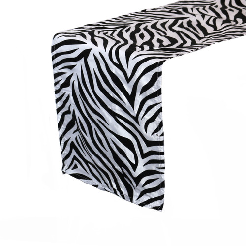 12 x 108 Inch Damask Table Runner Zebra