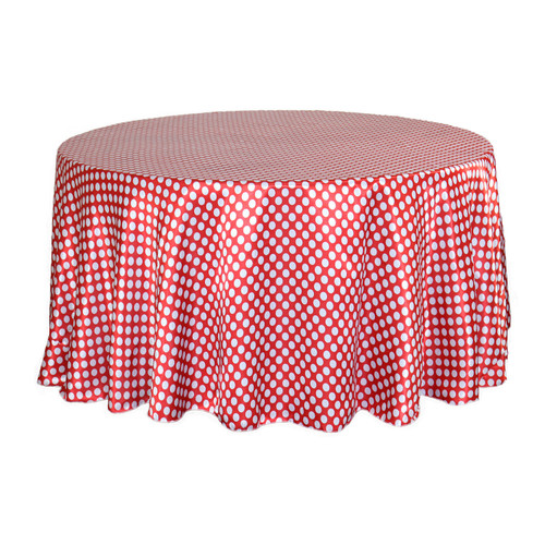 120 inch Round Satin Tablecloth Red/White Polka Dots