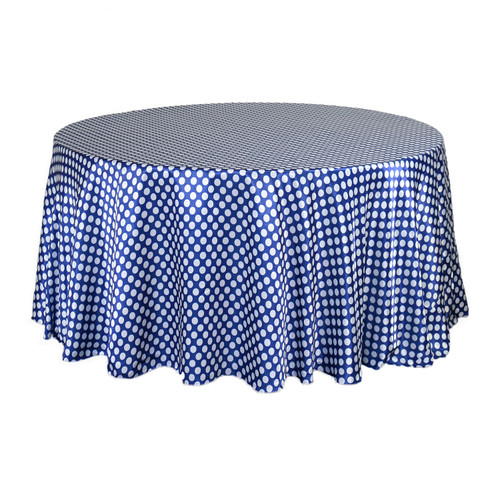 120 Inch Round Satin Tablecloth Royal Blue/White Polka Dots