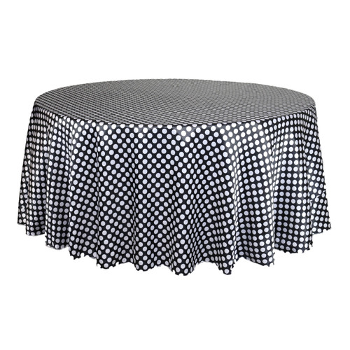 132 inch Round Satin Tablecloth Black/White Polka Dot