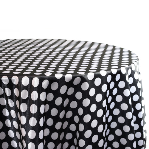 132 Inch Round Satin Tablecloth Black/White Polka Dots