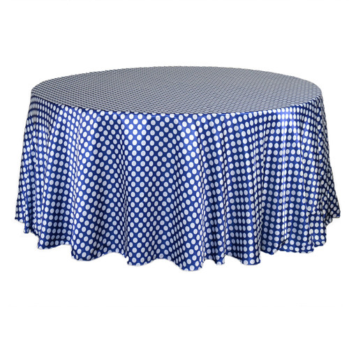 132 inch Round Satin Tablecloth Royal Blue/White Polka Dots