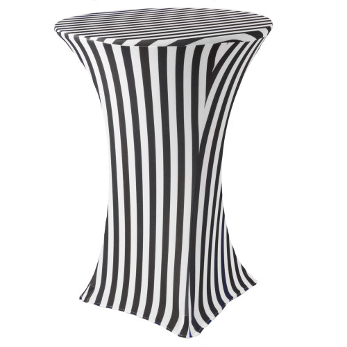 30 Inch Highboy Cocktail Round Stretch Spandex Table Cover Black/White Striped