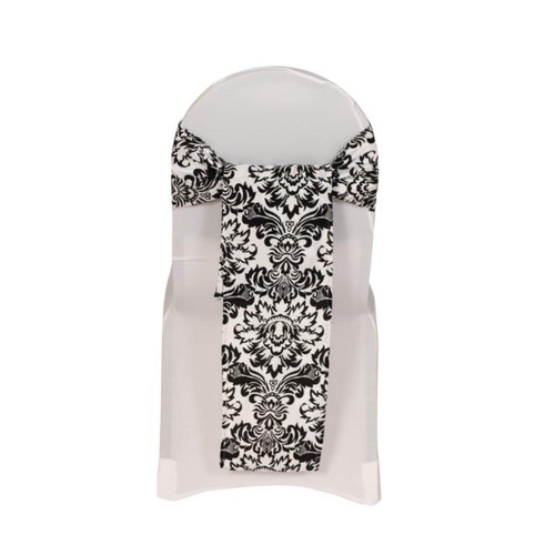 Damask Flocking Taffeta Sashes White and Black