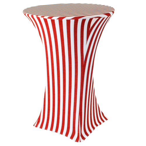 30 inch Highboy Cocktail Round Stretch Spandex Table Cover Red/White Striped