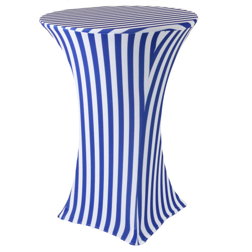 30 inch Highboy Cocktail Round Stretch Spandex Table Cover Royal Blue/White Striped