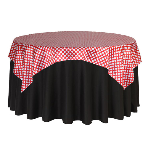 72 inch Square Satin Table Overlay Red/White Polka Dots