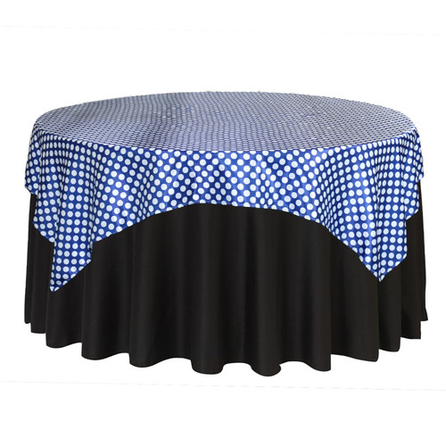 72 Inch Square Satin Table Overlay Royal Blue/White Polka Dots