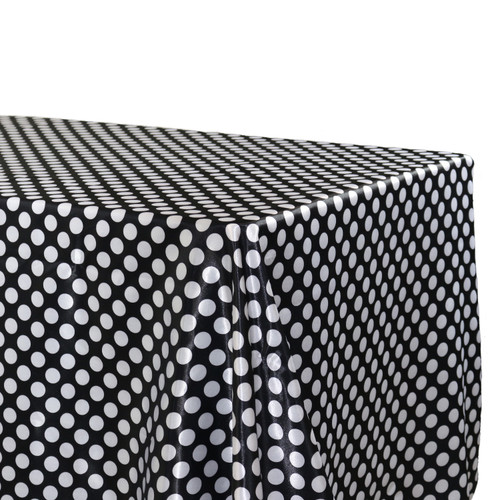 Satin Tablecloth Black/White Polka Dots