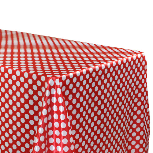 90 x 132 Inch Rectangular Satin Tablecloth Red/White Polka Dots