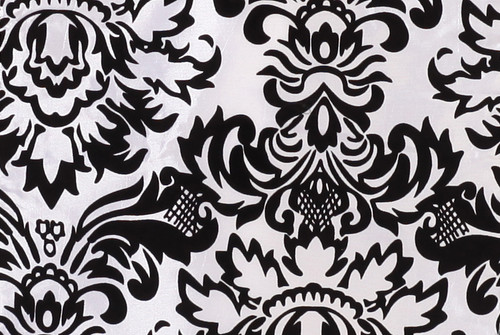 12 x 108 Inch Damask Table Runner White and Black