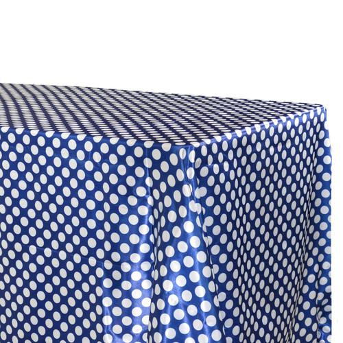 90 x 156 Inch Rectangular Satin Tablecloth Royal Blue/White Polka Dots