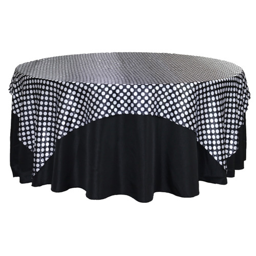 90 inch Square Satin Table Overlay Black/White Polka Dots