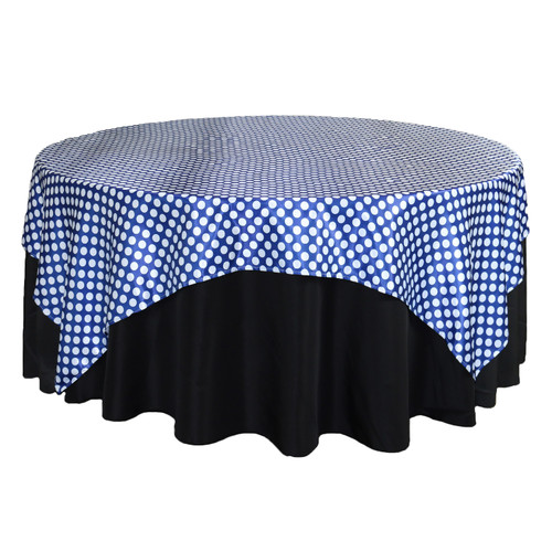 90 inch Square Satin Table Overlay Royal Blue/White Polka Dots
