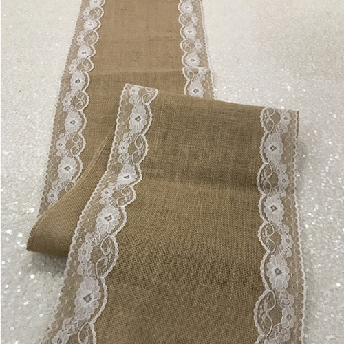 14 X 108 Inch Jute Burlap Table Runner with White Lace Edges