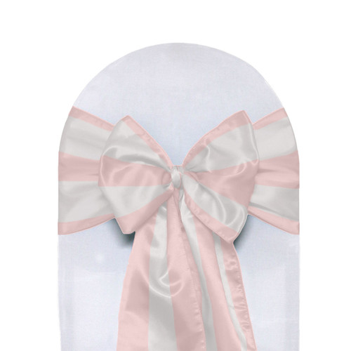 Satin Sashes Blush/White Striped (Pack of 10)