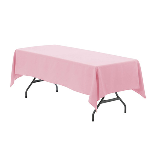60 x 126 Inch Rectangular Polyester Tablecloth Pink